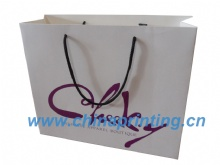 White card paper bag printing nylon handle in China SWP11-36