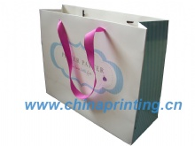 White art paper bag printing with ribbon handle SWP11-37